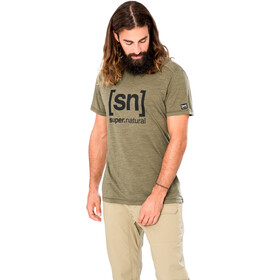 super.natural Logo T-shirt Heren, olive night melange/jet black
